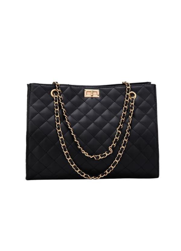 Quilted Shoulder Bag - Black - Front