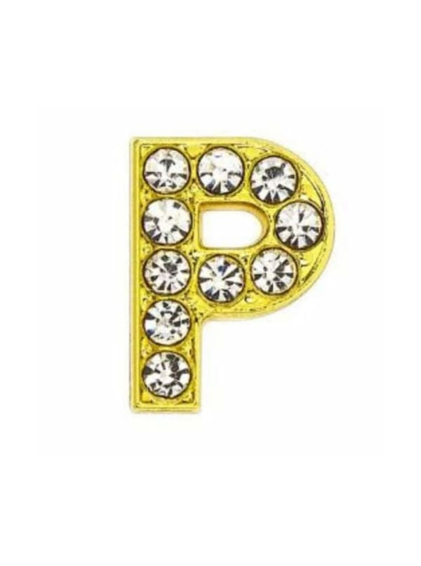 "Pave Letter ""P"" - Gold Charm"