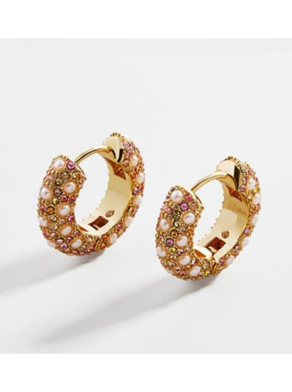 Gold Plated Lory Earrings - Gold - Front