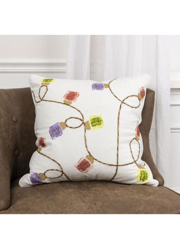 "Christmas String Of Lights 20""x20"" Multi Color Cotton Poly Filled Pillow - Ivory - Front"