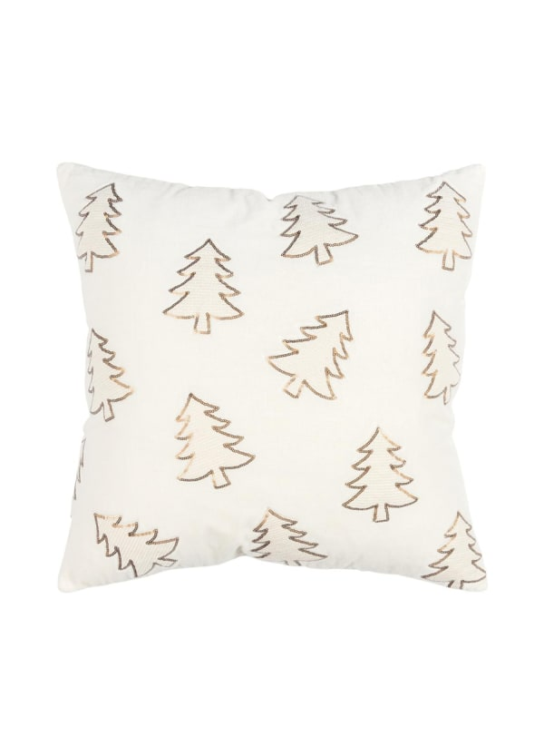 """Christmas Sequined Trees 20""""x20"""" Ivory Cotton Pillow Cover - Ivory - Front"""