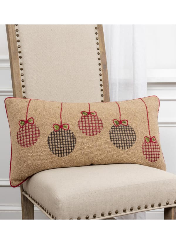 "Jute Christmas Ornaments 14""x26"" Dark Natural Cotton Poly Filled Pillow - Natural - Front"