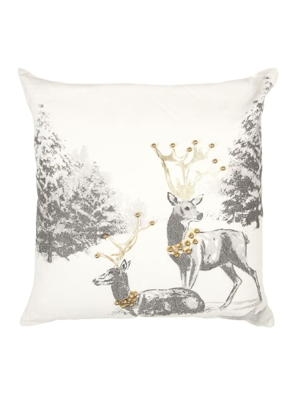"""Holiday Reindeer 20 """"x 20""""  Silver / Gold Cotton Poly Filled Pillow - Ivory - Front"""