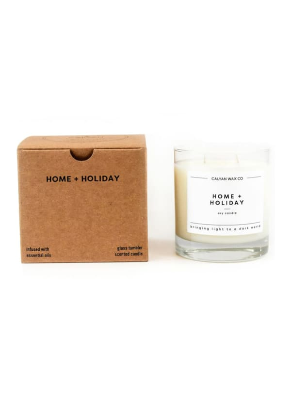 Home/Holiday 8.25 oz. Clear Glass Tumbler Soy Wax Candle - White - Front