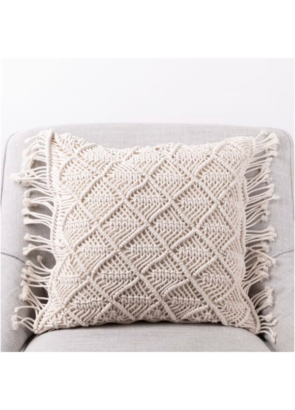 Hollow-carved Handmade Cotton Rope Pillow Cover with Tassel - Beige - Front