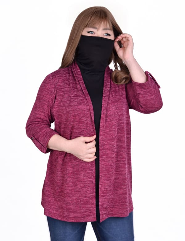 3/4 Sleeve Cardigan With Mask-Cowl Neck Inset - Plus
