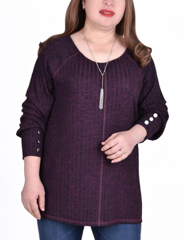 Long Sleeve Cuffed Rib Pullover - Plus