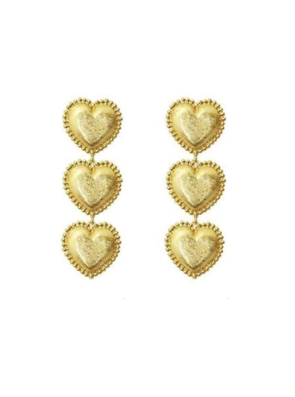 3 Gold Hearts Earrings