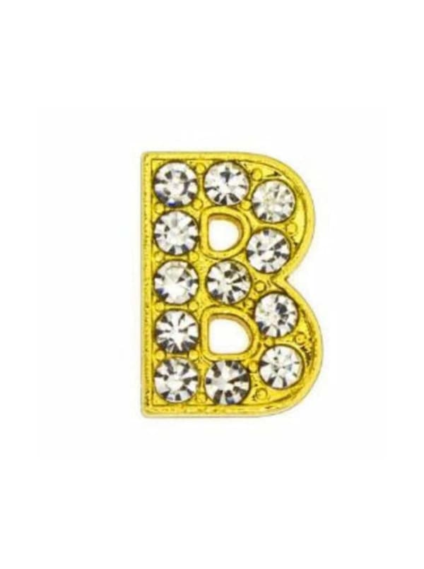 """Pave Letter """"B"""" - Gold Charm"""