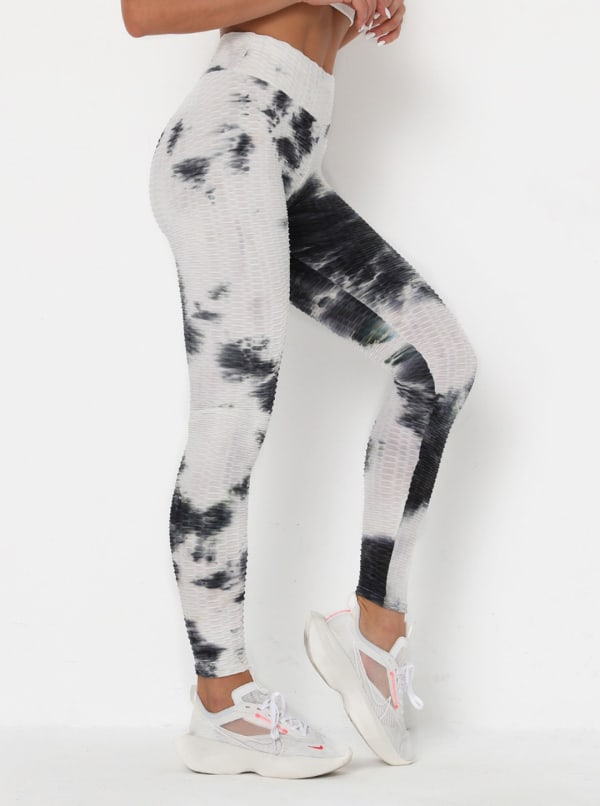 Black & White High Waist Tie Dye Leggings - White / Tie Dye - Front