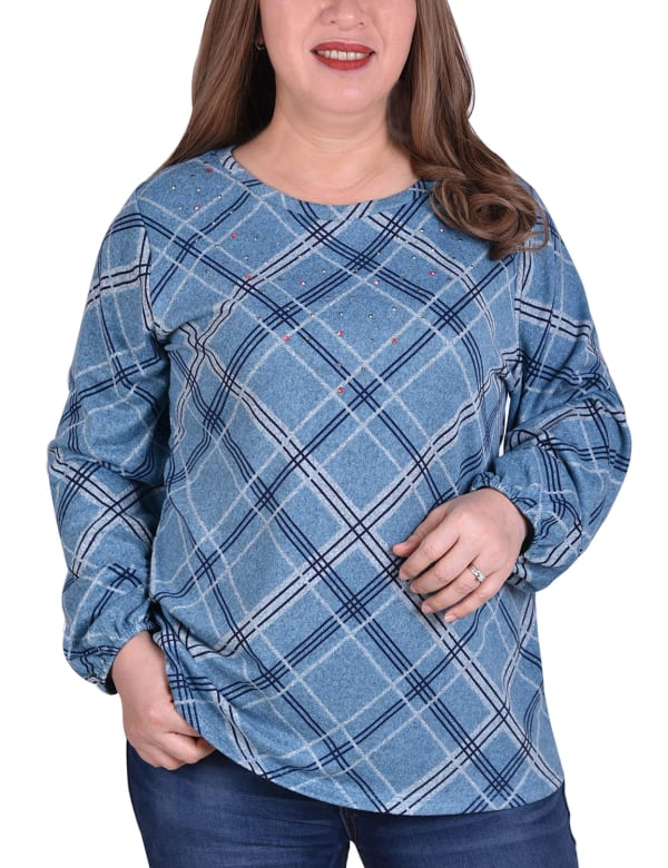Plaid Pullover With Elastic Cuff - Plus - Turquoise Plaid - Front