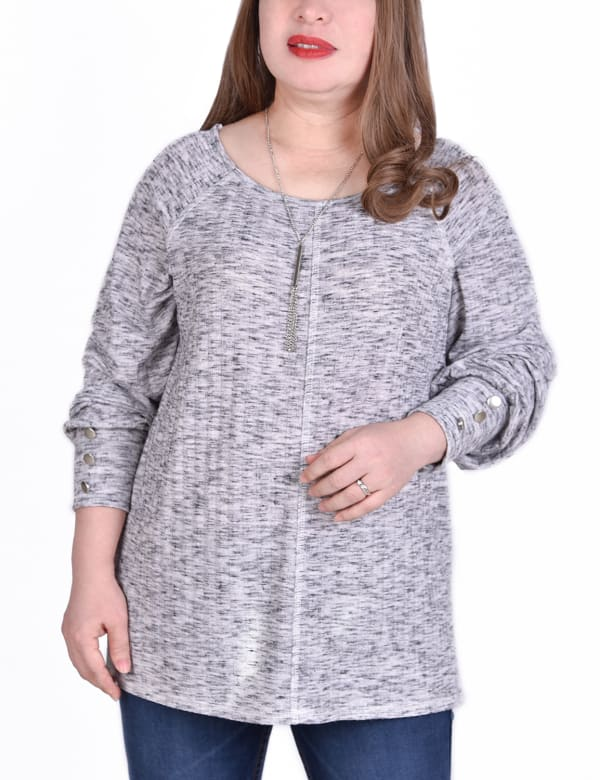 Long Sleeve Ribbed Pullover With Button Accents - Plus