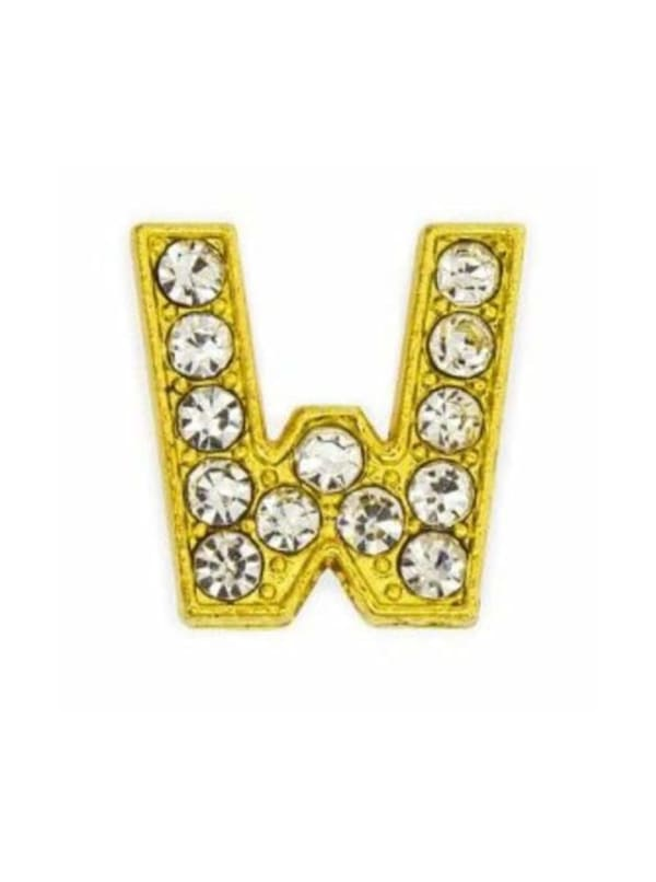 """Pave Letter """"W"""" - Gold Charm"""