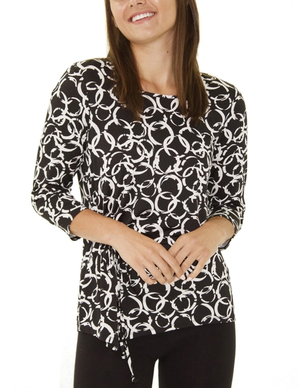 Elbow Sleeve Pullover With Drawstring Detail