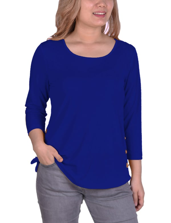 Three Quarter Sleeve Crepe Pullover With Toggles - Petite