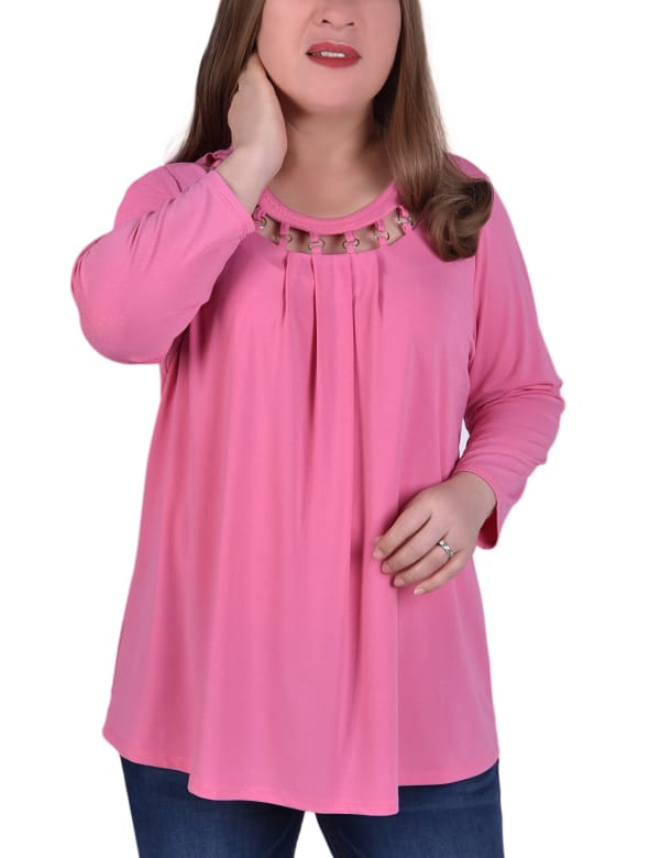 3/4 Sleeve Top With Cutout Ringed Neckline - Plus