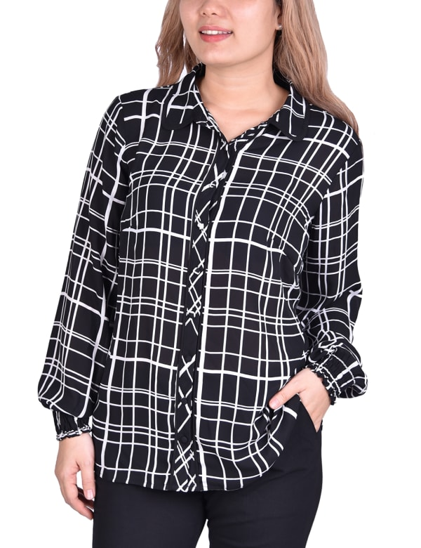 Long Sleeve Rounded Collar Blouse - Petite