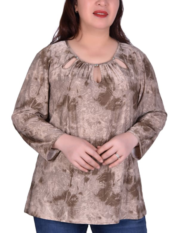 Long Sleeve Tunic With Neckline Cutouts - Plus