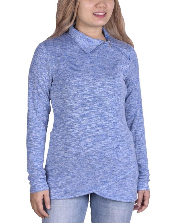 Long Sleeve Zippered High Neck Pullover