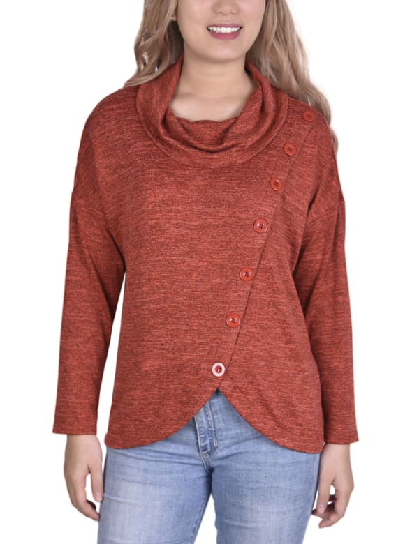 Long Sleeve Cowl Neck sweater With Button Detail Top