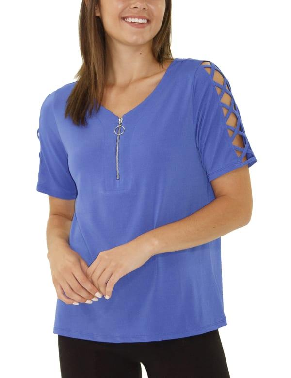 Short Sleeve Zippered Knit Top - Petite