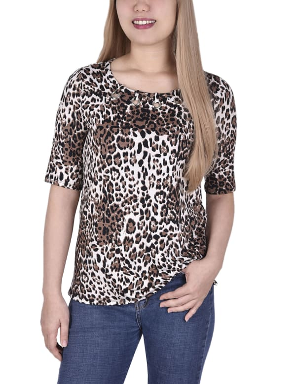 Short Sleeve Top blouse With Front Grommets And Tabs