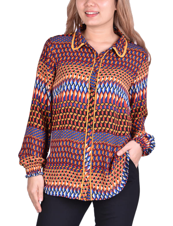 Long Sleeve Button Front Blouse With Contrast Binding - Plus
