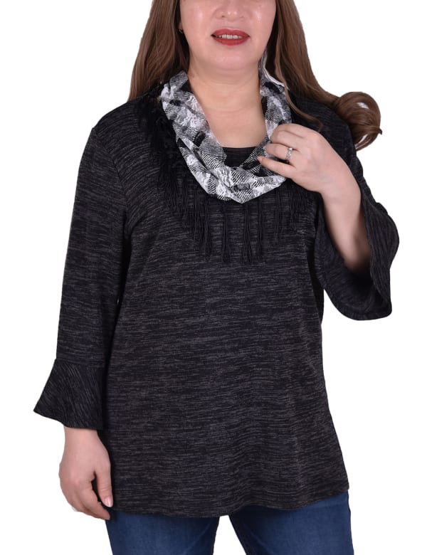 Bell Sleeve Tunic sweater With Scarf - Plus - Black - Front