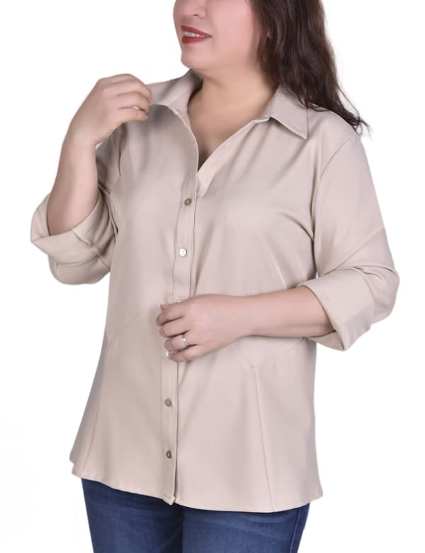 Button Front Blouse With Wide Cuff - Plus