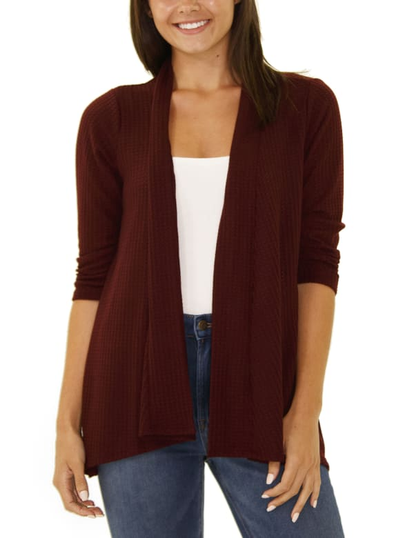 3/4 Sleeve Open Front Waffle Weave Cardigan - Bossanova - Front