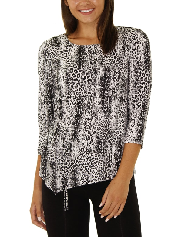 Elbow Sleeve Pullover With Drawstring - Petite