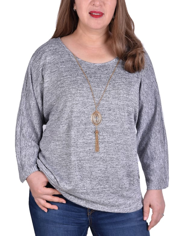 Banded Bottom Tunic Top With Necklace - Plus