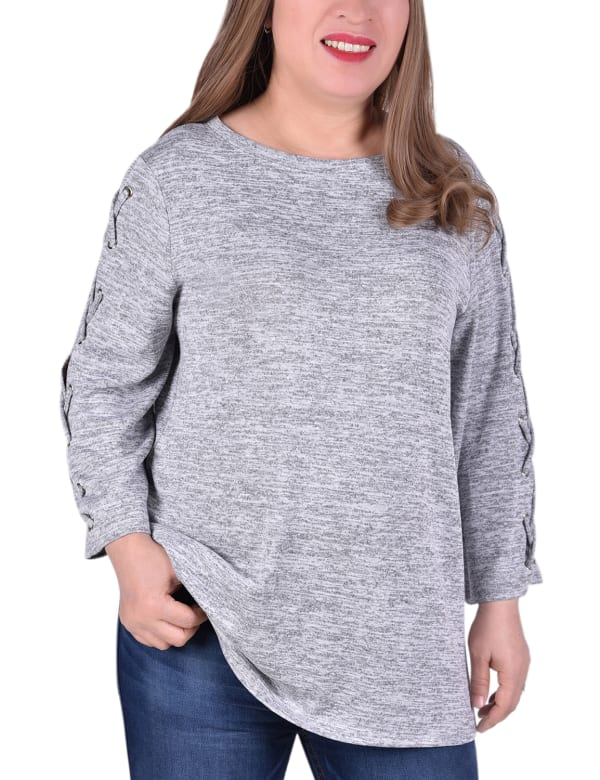 Laced Sleeve Top - Plus