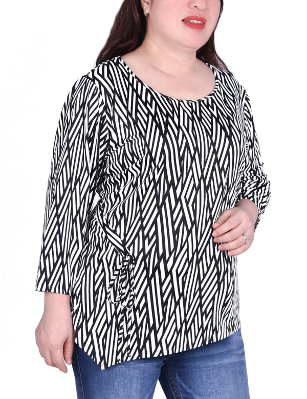 Elbow Sleeve Pullover With Drawstring Detail - Plus - Black / Ivory Geometrical - Front