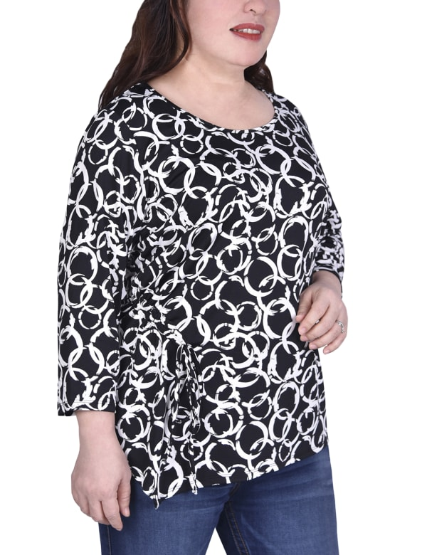Elbow Sleeve Pullover With Drawstring Detail - Plus