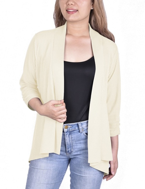 3/4 Sleeve Open Front Waffle Weave Cardigan - Pristine - Front