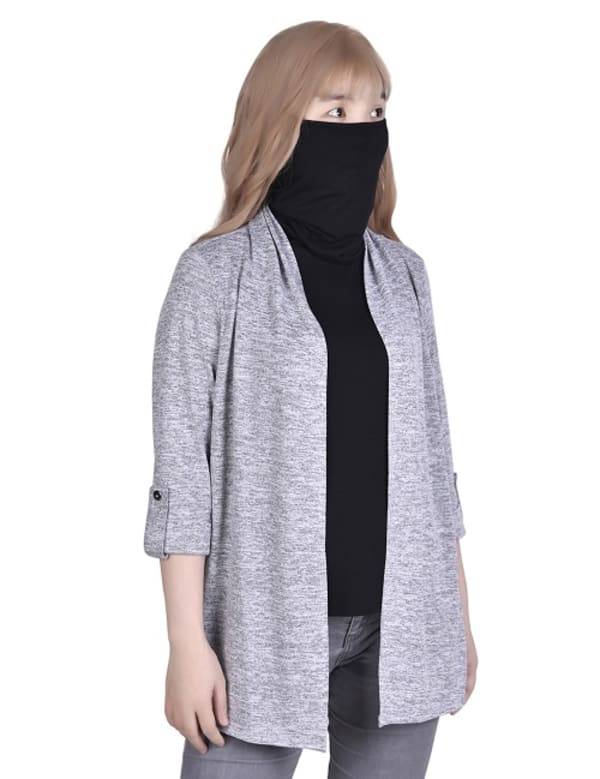 3/4 Sleeve Cardigan With Mask-Cowl Neck Inset