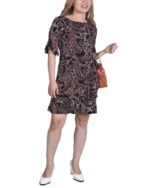 Bell Sleeve Sashed Dress - Black / Red - Front