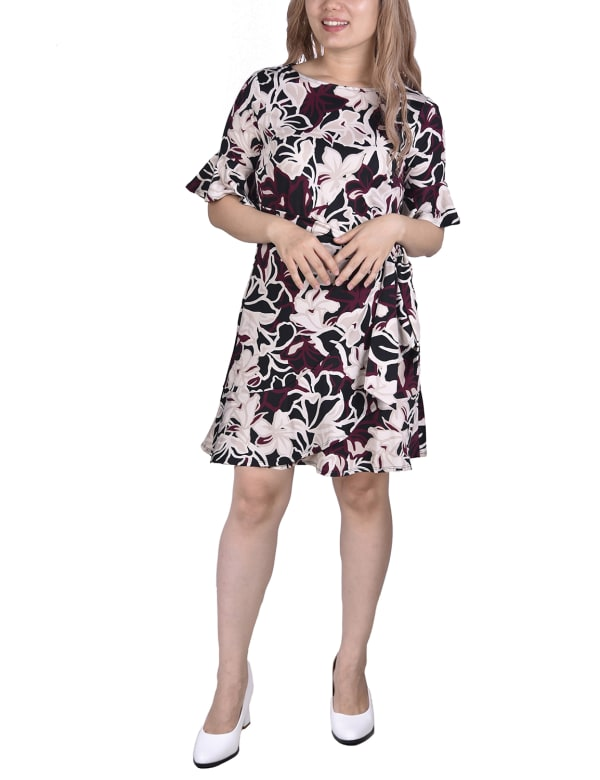 Bell Sleeve Sashed Dress - Burgundy - Front