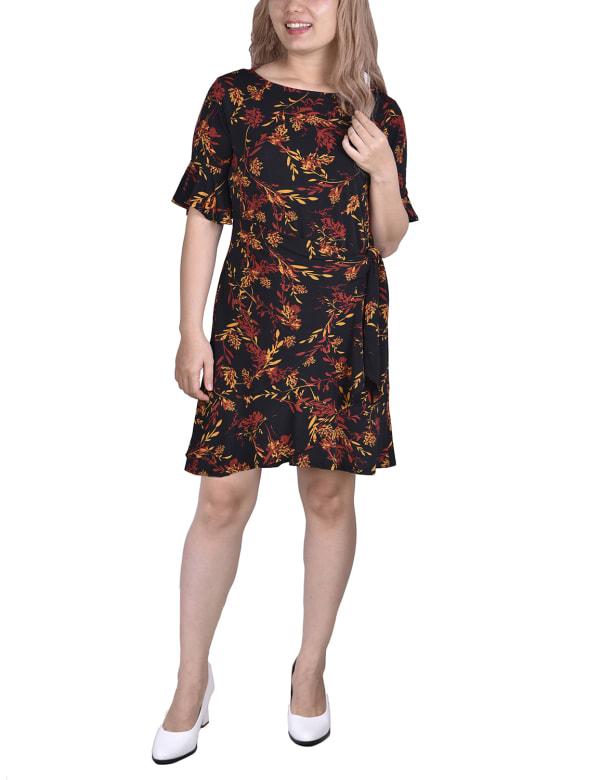 Bell Sleeve Sashed Dress - Black Floral - Front