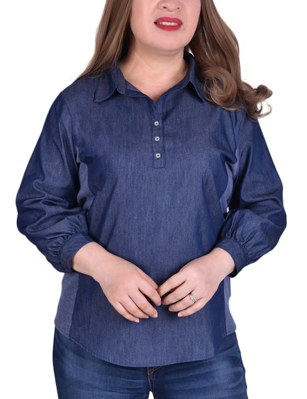3/4 Sleeve Denim Blouse With Knit Insets - Plus
