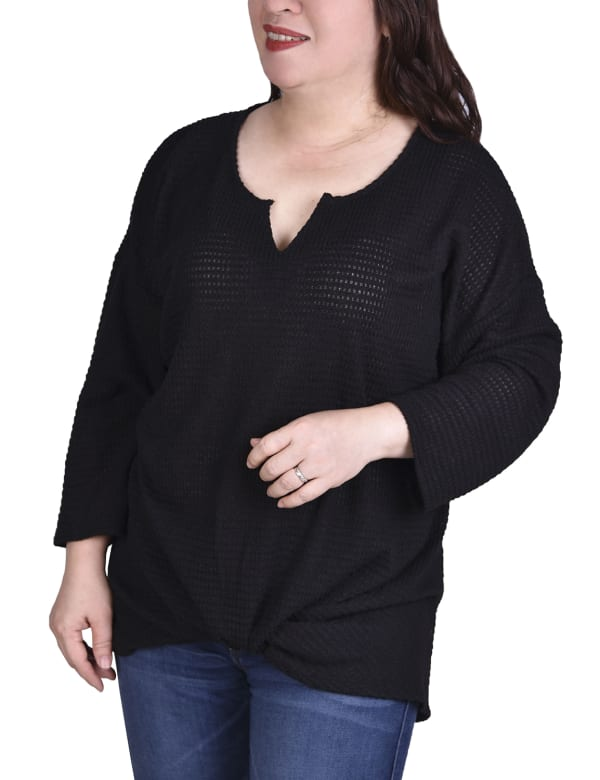 Twist Front 3/4 Sleeve Pullover - Plus