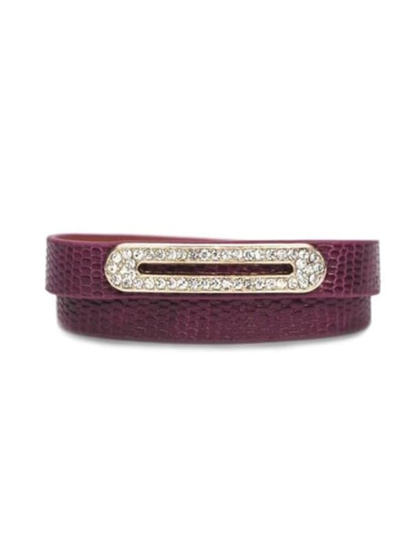 Luxe Leather Bracelet - Berry - Front