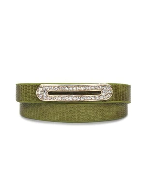 Luxe Leather Bracelet - Lime Green - Front