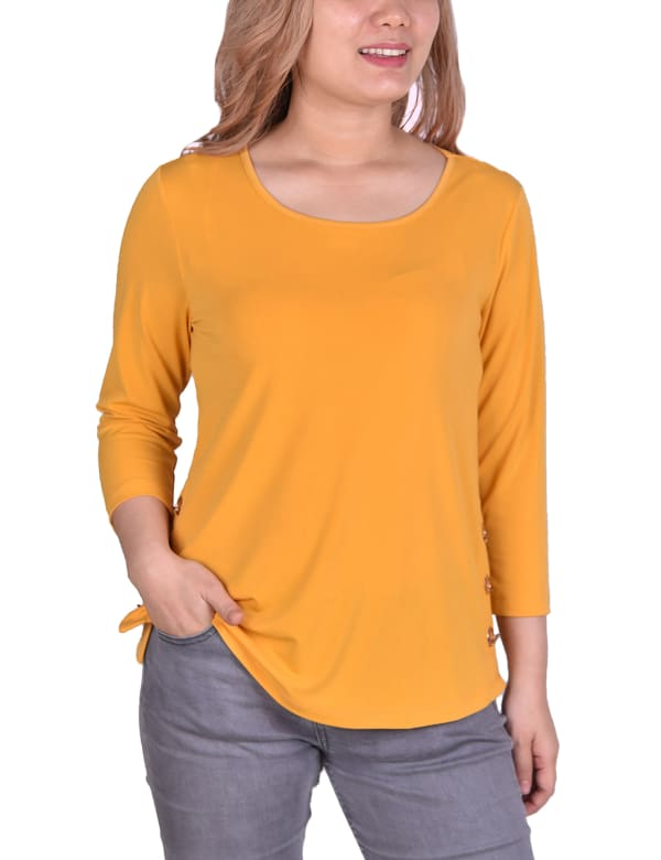 Long Sleeve Crepe Pullover Top With Button Details