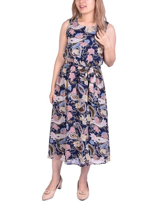 Sleeveless Belted Chiffon Dress