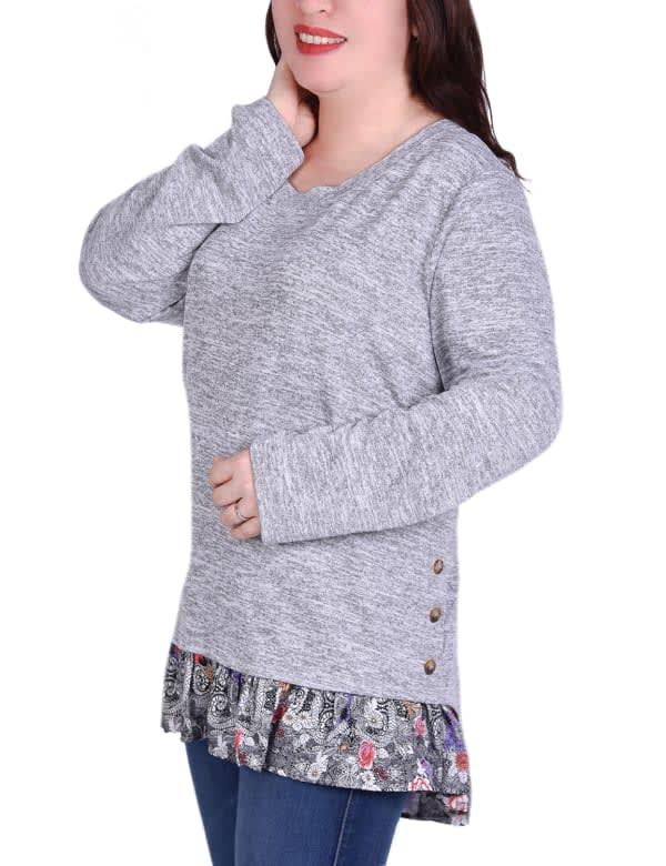 Long Sleeve Tunic With Ruffled Hem Top
