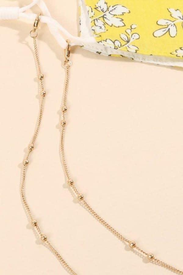 Gold Plated Metallic Ball Chain Mask Lanyards