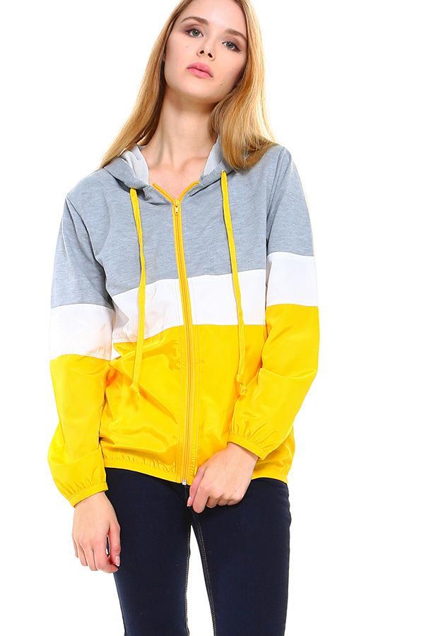 Color Block Sporty Windbreaker Jacket