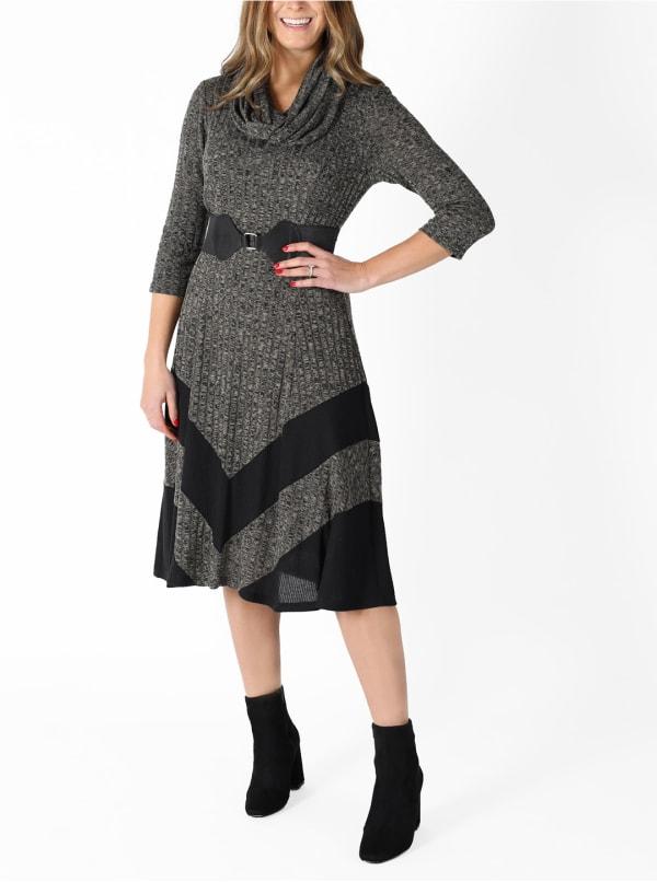 Cowl Neck Midi Knit Dress - Grey - Front